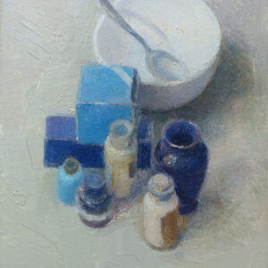 Huile sur toile - composition avec des bleus - peinture figurative